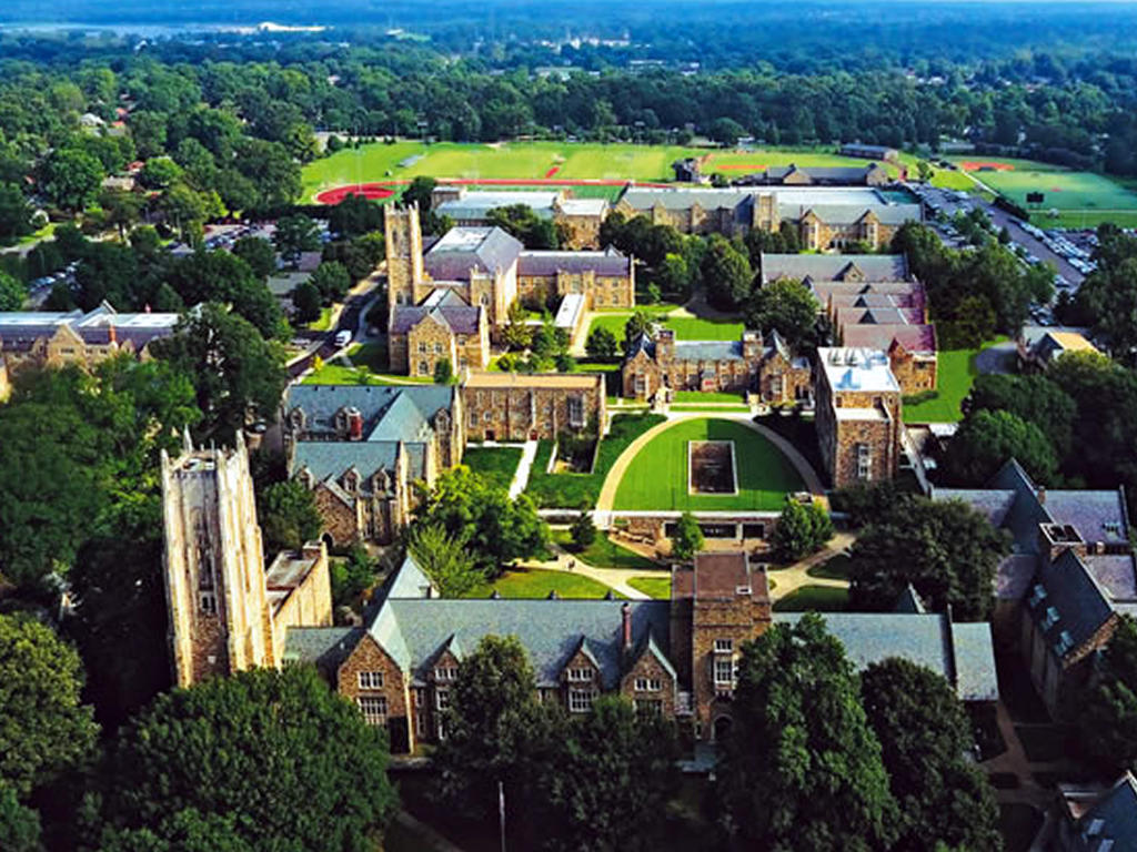 aerial view of a college campus