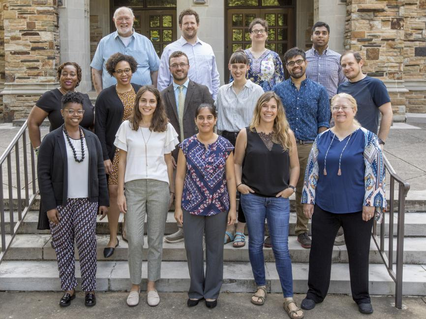 group shot of new faculty on the steps of Burrow Hall