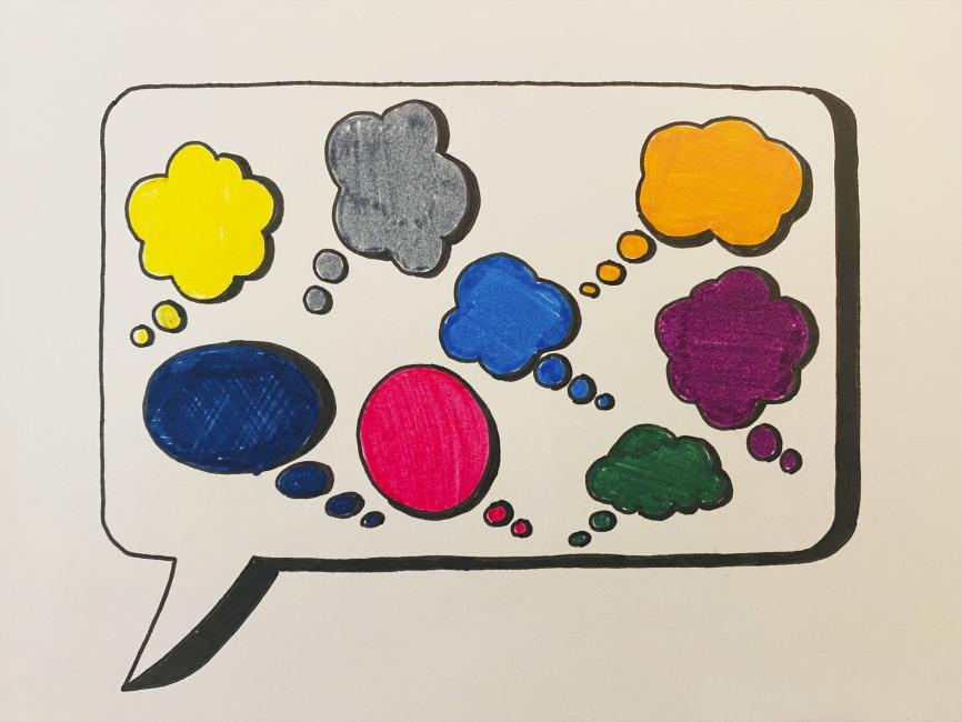 A monochromatic speech bubble containing many colorful thought bubbles.