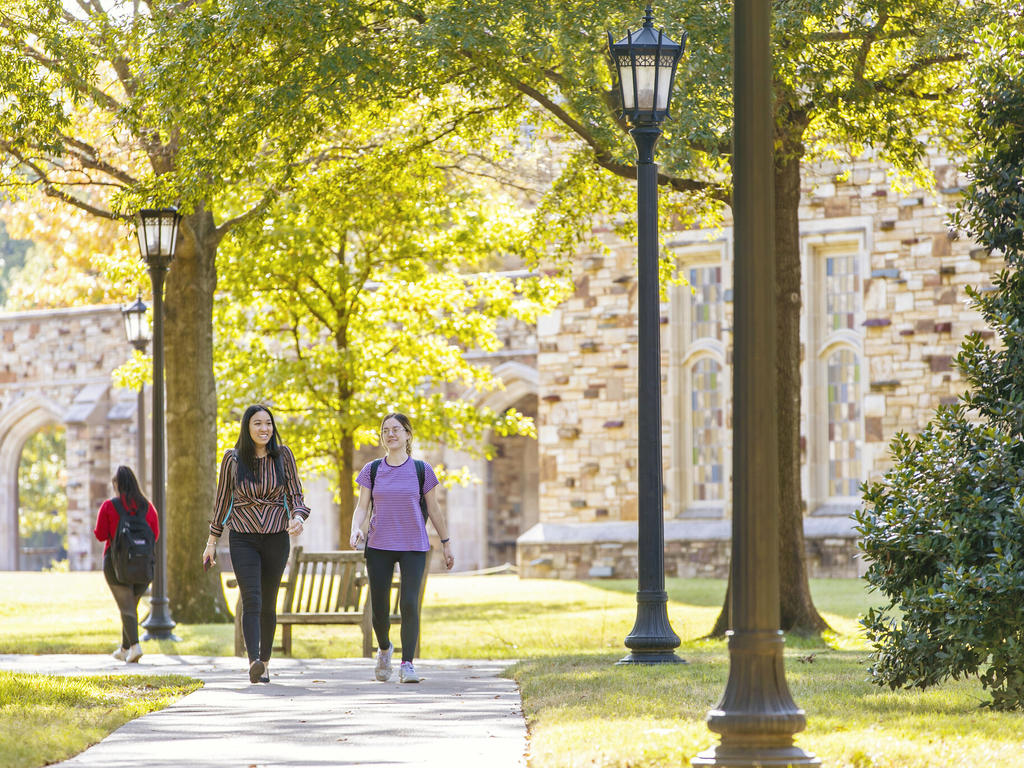 Two students walk down sidewalk among green grass, trees, and lamp posts with a stone building in the background