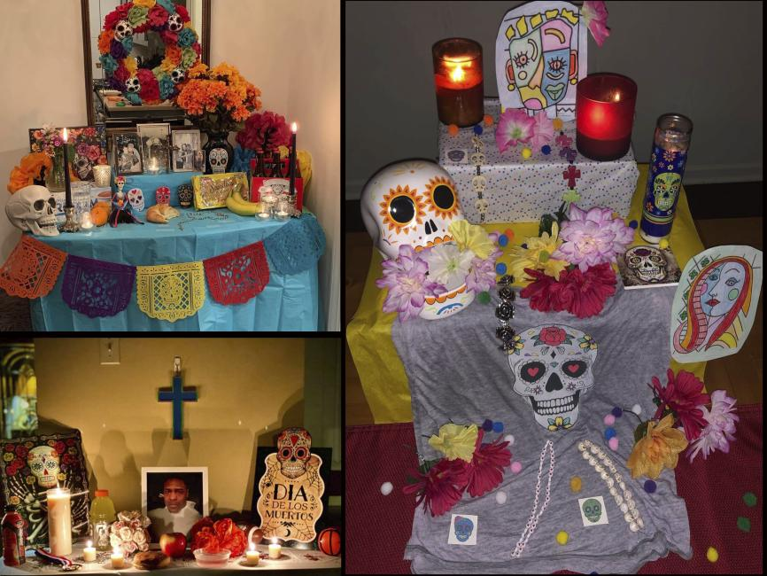 a collage of Day of the Dead altars