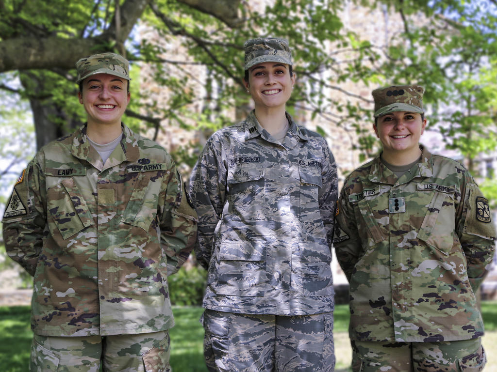 ROTC cadets wearing camouflage fatigues