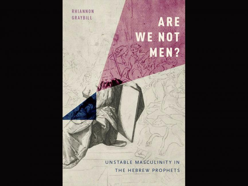 "a book cover that is gray and light pink that says ""are we not men?"""