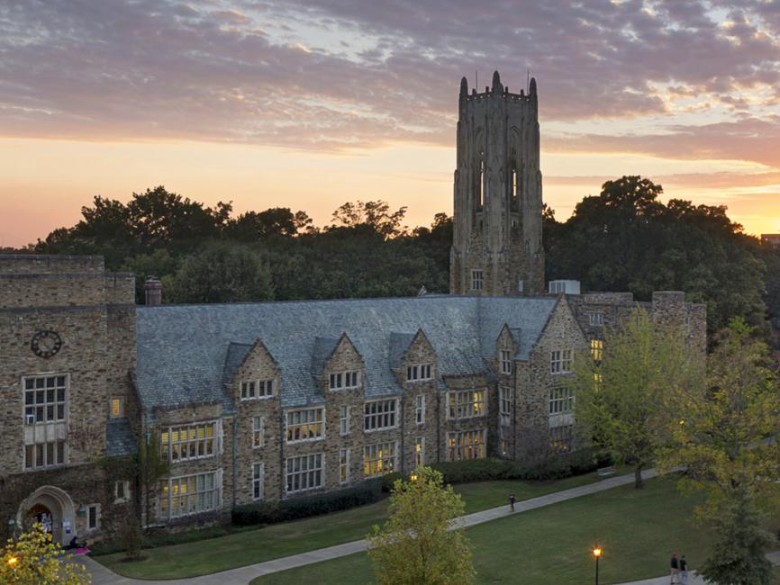 Collegiate Gothic style campus at sunset